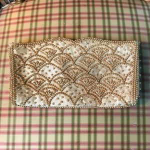 Vintage Cream and Gold Beaded Clutch